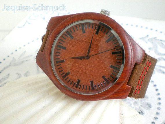 Armbanduhr Männer Holzuhr braun Echt Ledermens von JaquisaSchmuck