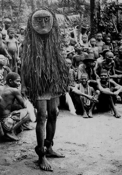 Cross River Ibo. Ohaffia tribe. 'Okanku' masquerade. Mask called 'Otili'. photo taken by Dr.G.I.Jones 1931