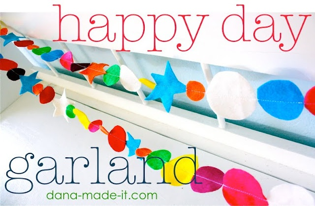 happy day garland from dana made it.  love this for any occasion!: Birthday, Tutorials, Christmas Colors, Happy Day, Holidays, Parties Ideas, Felt Garlands, Christmas Trees, Kids Rooms