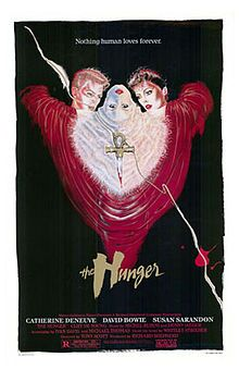 The Hunger (1983) by Tony Scott, staring Susan Sarandon, Catherine Deneuve and david Bowie. Story: a horror film, it is the story of a love triangle between a doctor who specializes in sleep and aging research and a vampire couple.