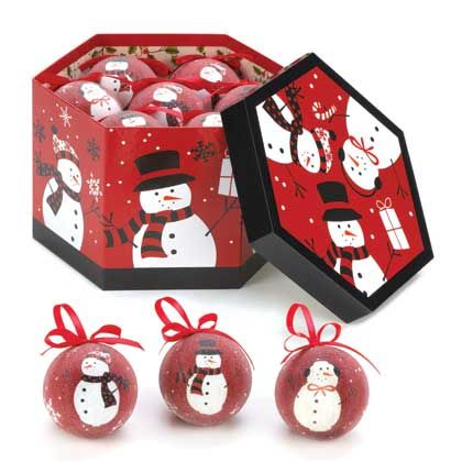 10015320 www.tiffgifts.com Happy Snowmen Ornaments. Make your holidays even happier with this collection of smiling ornaments.