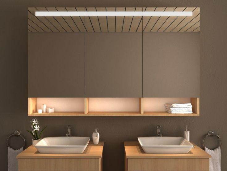 Spiegelschrank mit offenen Regalen Dieser schicke, passgenau auf Maß gefertigte Spiegelschrank passt sich jedem Bad ideal an. Je nach Größe des…..