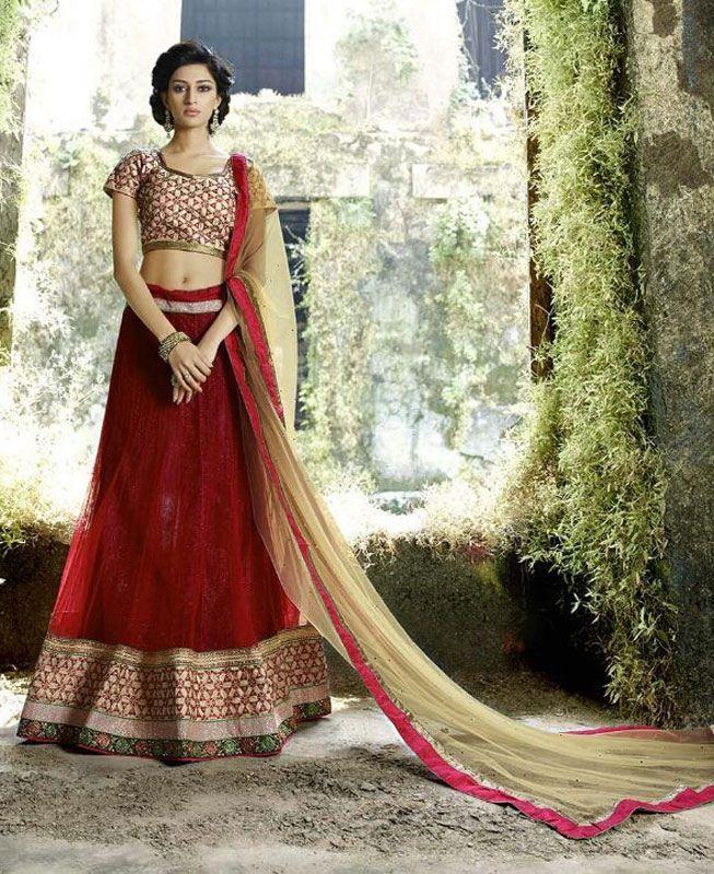 Buy Lovely Red & Beige Lehenga Choli online at  https://www.a1designerwear.com/lovely-red-beige-lehenga-choli  Price: $51.06 USD
