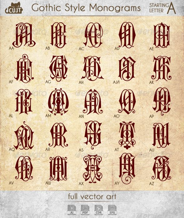 Gothic Style Monograms Starting with Letter A - Decorative Symbols Decorative