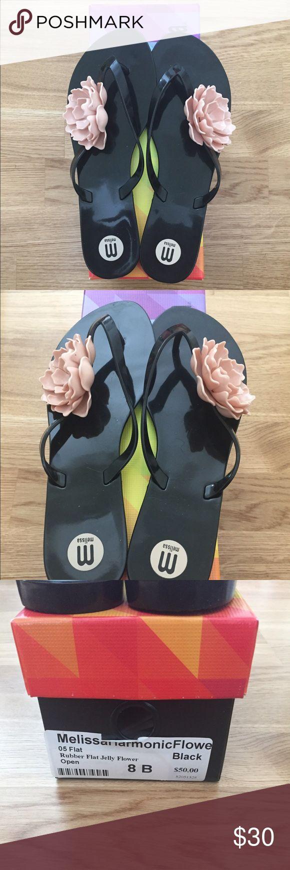 Melissa Jelly Flip Flops Melissa Harmonica Rubber Flat Flip Flops with Jelly Flower. Melissa Shoes Sandals