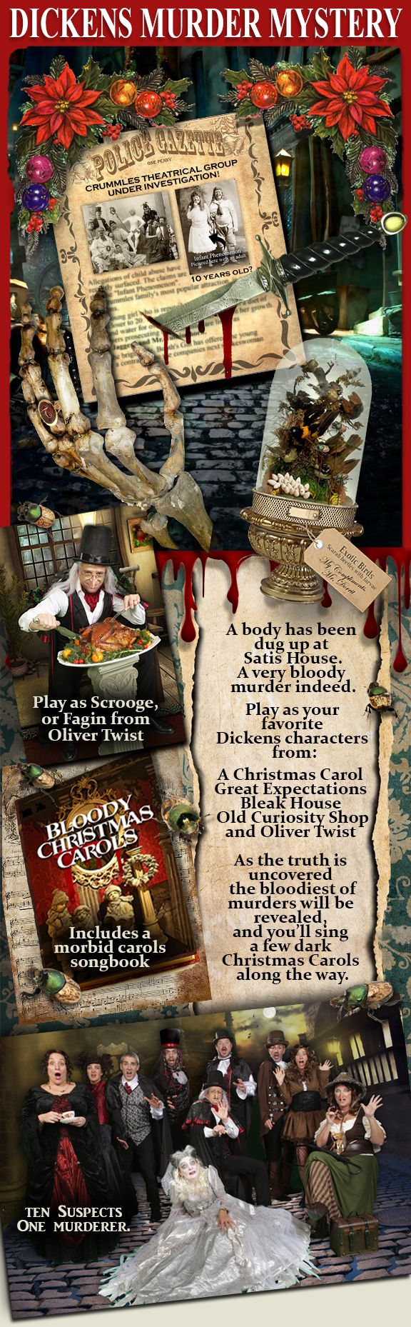 This is a wonderfully dark / humorous role playing dinner party game. Play as one of Charles Dickens most beloved characters as you unravel the mysterious murder at Sadis Manor all the while proclaiming your innocence! A Christmas Eve like no other, as you discover the horrors of each of the dinner guests, and their alibis. Along with a few morbid Christmas Carols, this is one evening you wont soon forget! Game for 10 players.