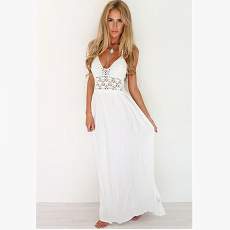 Bohemian Hollow Out Sleeveless White Sling Backless Dress