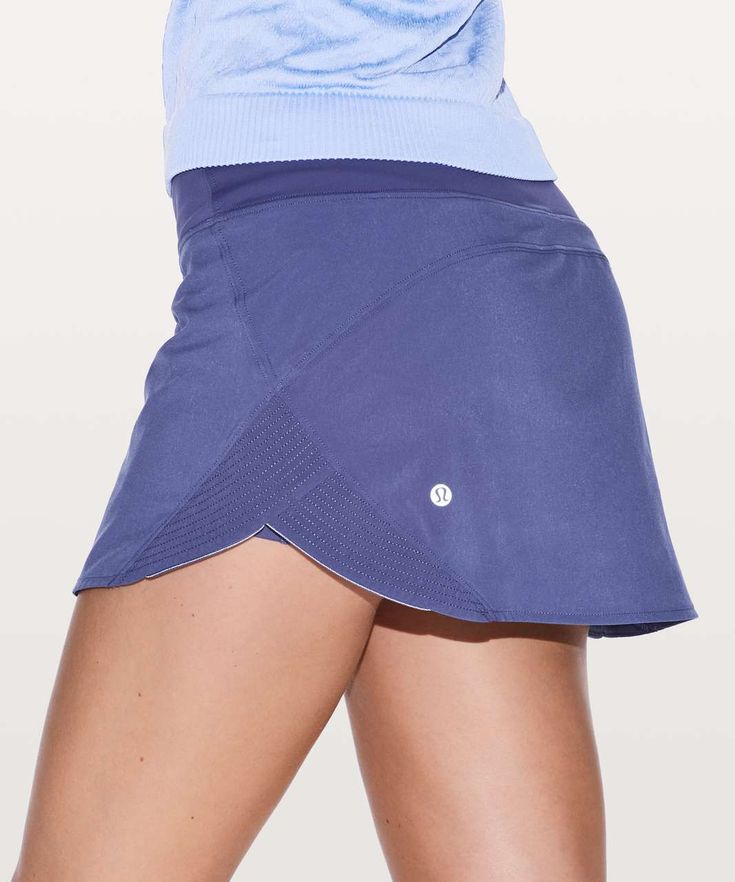 Release Date: 11/2017. Original Price: $68. Materials: Swift Ultra Light. Color: stony grape. Set your day in motion. This lightweight skirt was made for running with quilted detailing, reflective trim, and a gracefully curved hem.Swift Ultra LightSwift Ultra Light fabric is an airy, lightweight fabric woven to provide airflow—seriously, it's like being in the buff.lightweightfour-way stretchsweat-wickingquick-dryingFeaturesDesigned for: RunLycra®: Added Lycra® fibre for stretch and shap...