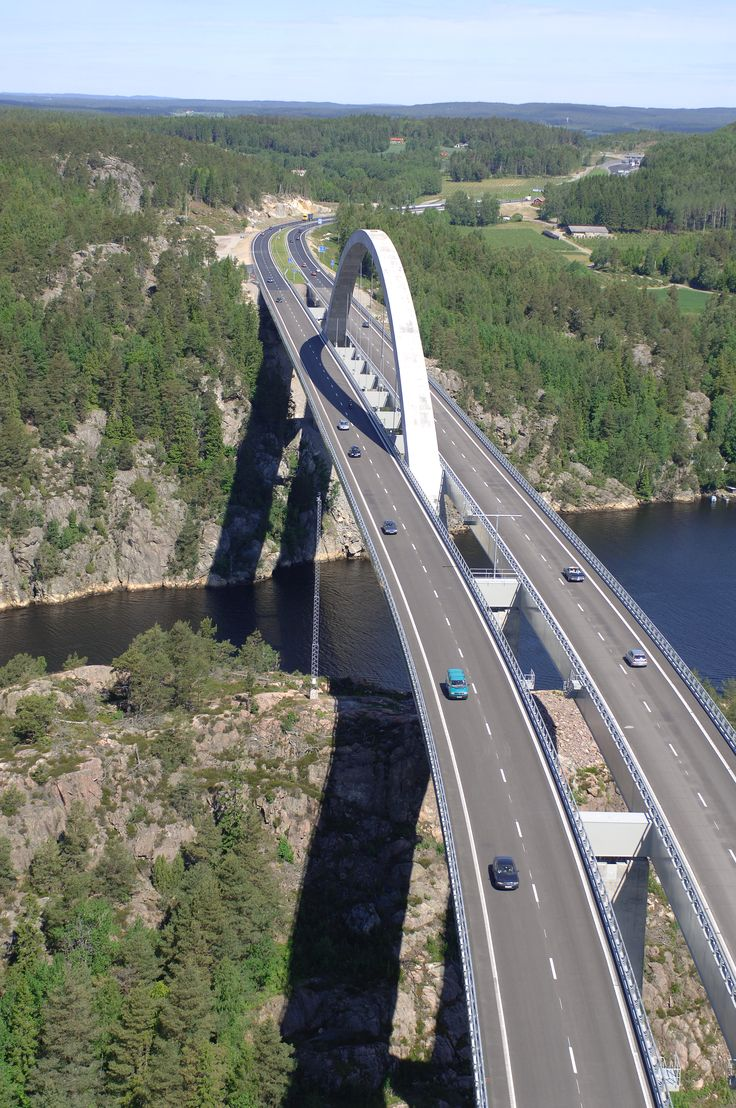 The Svinesund Bridge, joining Sweden and Norway over the sound of the Iddefjord.