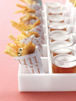 Fish and chips paired with mini glasses of microbrews Brides Magazine: Wedding Color Schemes: Pink and Orange