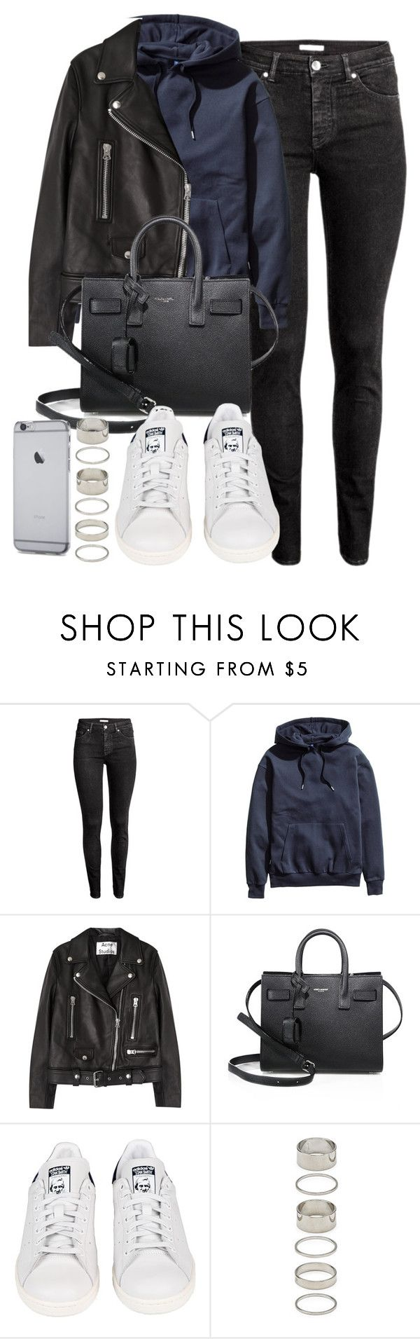 """""""Style #11554"""" by vany-alvarado ❤ liked on Polyvore featuring H&M, Acne Studios, Yves Saint Laurent, adidas and Forever 21"""