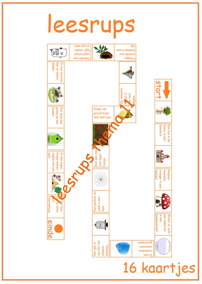 Thema 11. Goed te gebruiken bij Lijn 3 en Veilig Leren Lezen. Leuke leesrups over verschillende woningen.