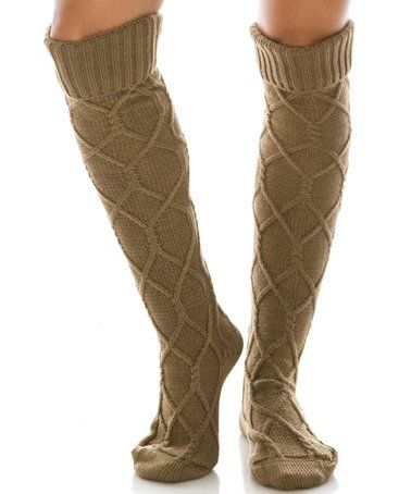 This Camel Cable-Knit Knee-High Boot Socks is perfect! #zulilyfinds
