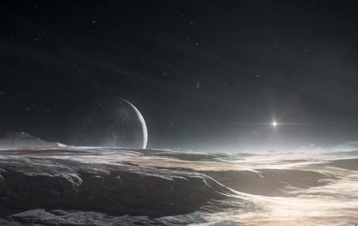 An artist's rendering of Pluto's surface, with Charon looming large on the horizon.