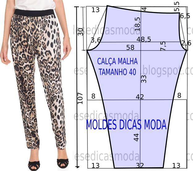 Para quem gosta de vestir um estilo menos formal proponho o molde de calça leopardo no tamanho 40 na tabela Portuguesa e 42 na tabela Brasileira.