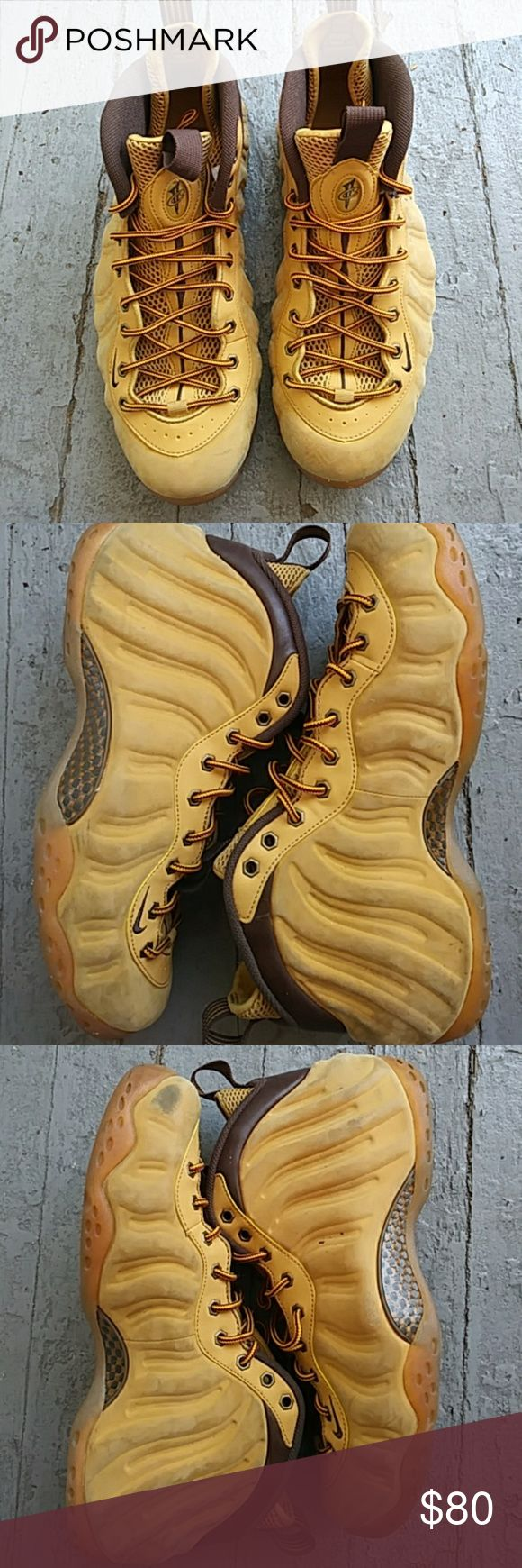 Foam Posites One Premium Wheat Swede, brown and butter shoe and laces, tan gum bottoms. Worn but in easy repairable shape. Nike Shoes Sneakers