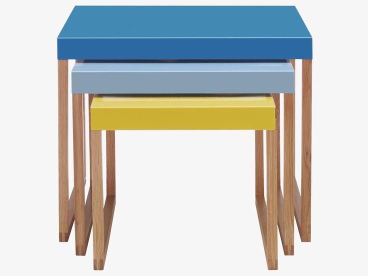 KILO BLUE Metal Multi-coloured metal nest of 3 side tables - HabitatUK