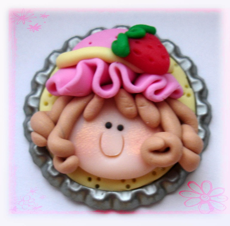 *POLYMER CLAY ~ Strawberry Girl Polymer Clay Bottle Cap Bead, Scrapbooking, Bow Center, Pendant, Cupcake topper, Magnet.