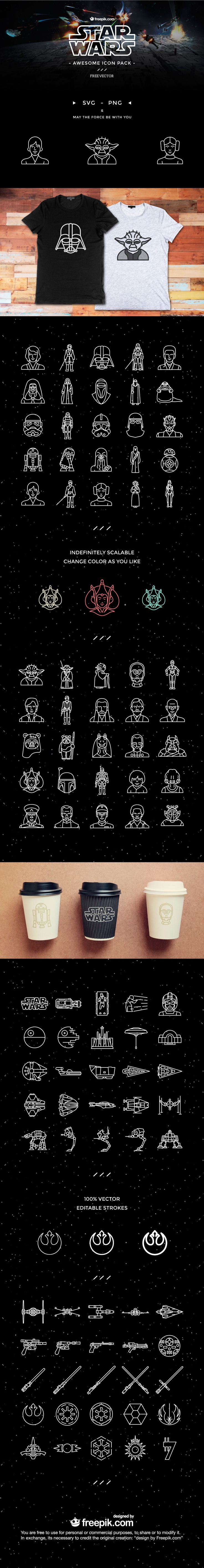 An amazing pack of 100 FREE Star Wars icons designed exclusively by Freepik. All your favourite characters are there, including Yoda, Luke, Darth Vader, R2D2 and even Jar Jar Binks!