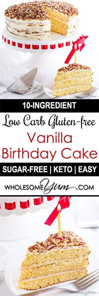 Gluten-free Birthday Cake (Sugar-free, Low Carb, Keto) - This gluten-free birthday cake recipe is so rich and moist that no one will guess it's low carb and sugar-free. It's easy to make with just 10 ingredients!
