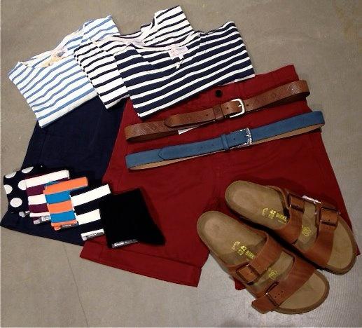 Onkel P, Odense.    T-shirts: Knowledge Cotton Apparel  Shorts: Won Hundred  Bælter: Tiger Of Sweden  Sokker: Democratique  Sandaler: Birkenstock