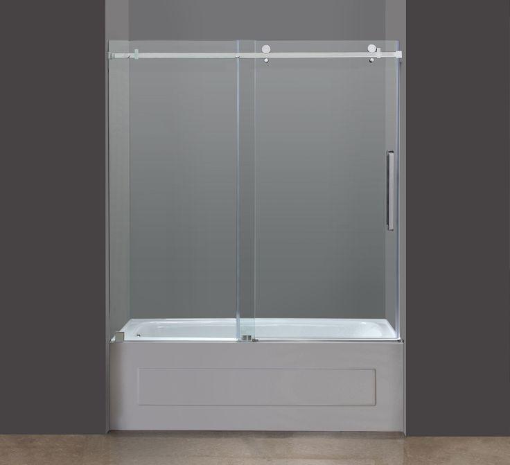 TDR976 60  Framless Tub-Height Sliding Shower Door in Stainless Steel & 8 best TDR976 MOSELLE Completely Frameless Tub-Height Sliding Shower ...