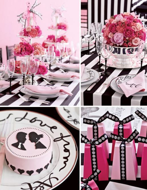 Black and White Bridal Shower Theme with a punch of color - love using the tiered cake plates as centerpieces