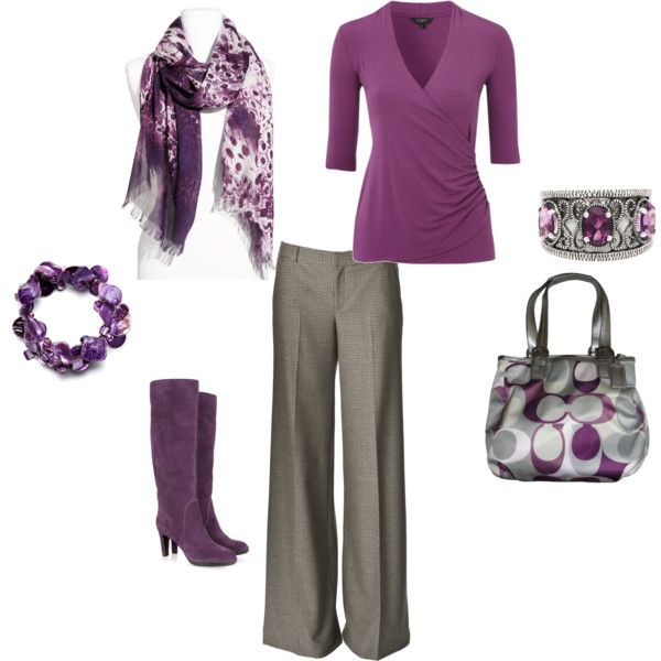 cute purple: Colors Purple, Colors Combos, Favorite Colors, Style, Coach Purses, Grey Slacks, Sunday Outfits, Beautiful Outfits, Work Outfits