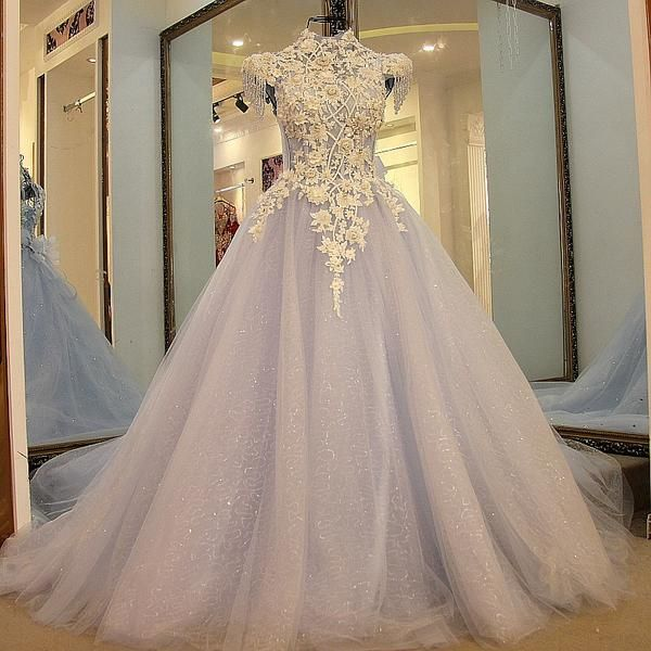 AHS028 New Arrival High Neck Sexy Tulle Train Prom Dresses with Appliques 2017
