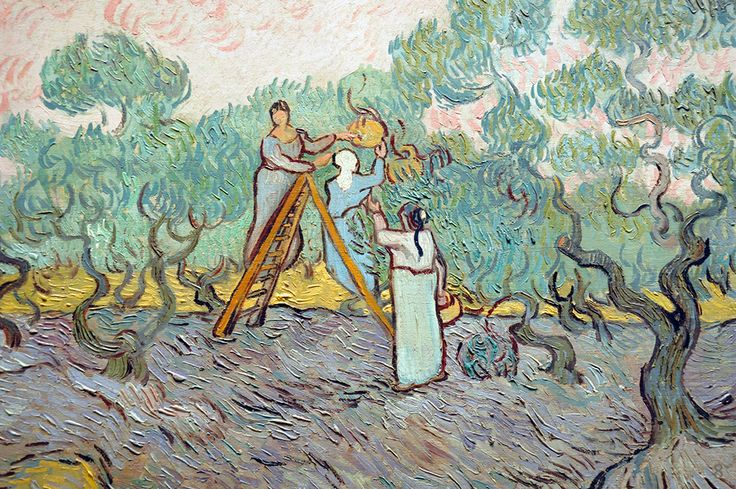 Women Picking Olives by Vincent van Gogh / I miss the sun and the hot summer. I miss the nature full of sounds and lust. I miss the trees full of leaves and fruits. Go away, bloody winter, even if you're not even quite here yet