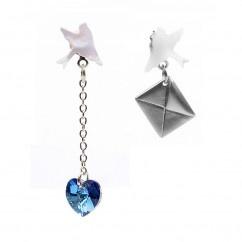 Mavi Gümüş Güvercin Küpe  - #tasarim #tarz #mavi #rengi #moda #hediye #ozel #nishmoda #blue #colored #design #designer #fashion #trend #gift