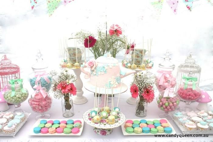 Floral high tea bridal shower party planning ideas for Afternoon tea decoration ideas