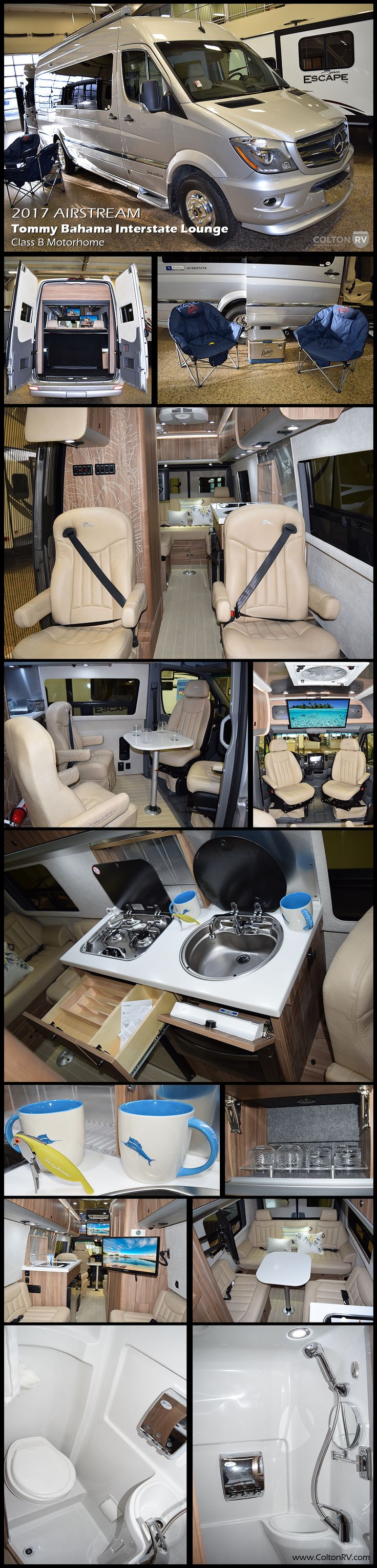 Island life is here. The new Special Edition Tommy Bahama Touring Coach has arrived. Tommy Bahama and Airstream bring iconic quality and comfortable ease together beautifully in this 2017 Airstream Tommy Bahama Interstate Lounge Class B Motorhome. Open the rear doors to bring in the ocean breeze and enjoy the powered wood blinds and Tommy Bahama décor accents. The new special edition is built for relaxation and adventure.