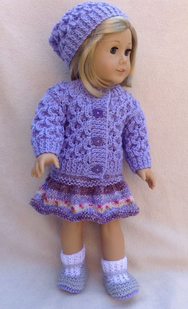 KnItted outfit FO American Girl Doll, Gotz Hannah or similar 18 inch dolls