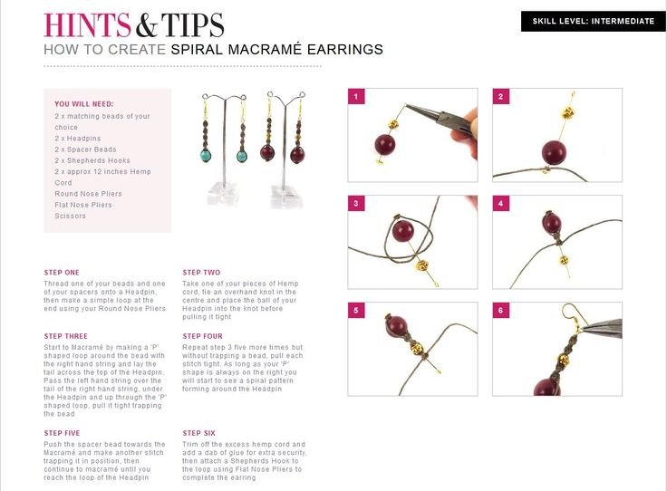 Follow this step by step tutorial to create Spiral Macrame Earrings with jewellerymaker.com