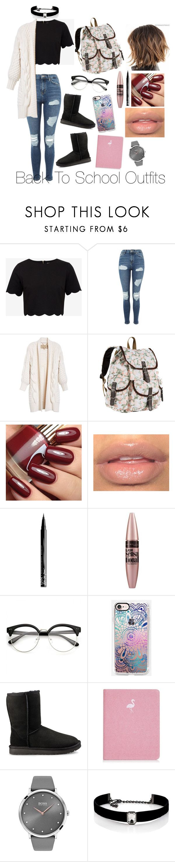 """""""Back To School Outfits #46"""" by gussied-up on Polyvore featuring Ted Baker, Topshop, Burberry, Everest, NYX, Maybelline, Casetify, UGG, BOSS Black and Kenneth Jay Lane"""