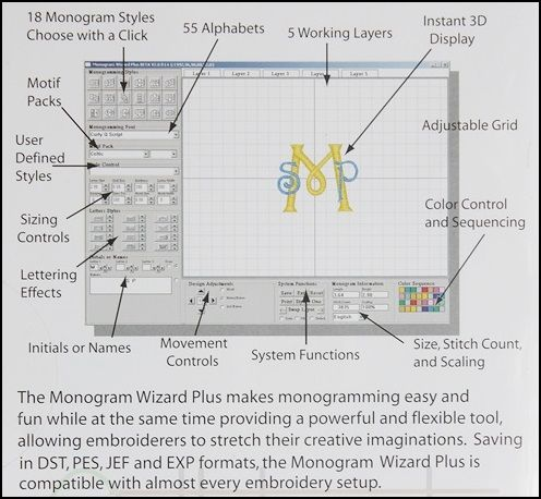 Excellent and Easy to Use Embroidery Font Software from Applique Cafe ~ Monogram Wizard Plus Monogramming Software