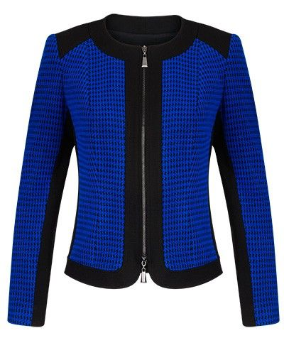 HOUNDSTOOTH PANEL KNIT JACQUARD ZIP FRONT JACKET - Style Number: DA98229