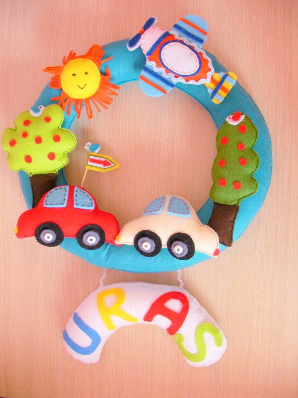 Custom Personalized Name Wreath- Door Hanging- Sign For Baby- Car, Sun,Tree,Bird,Airplane