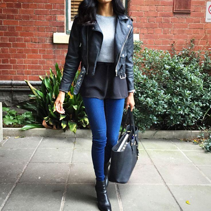 @eresha.fwtn Layering AW15 | nasty gal leather jacket, topshop cropped jumper, Bardot jeans, tony Bianco, Michael kors