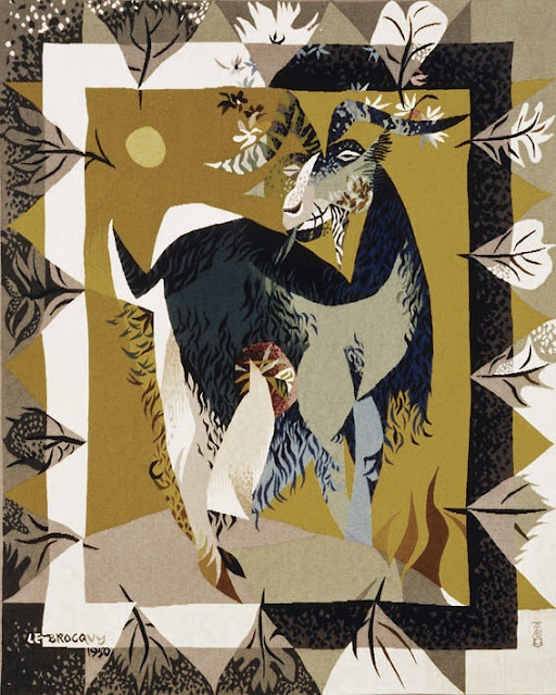 Louis le Brocquy Garlanded Goat tapestry 1949-50