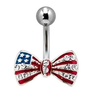 american flag bow belly button ringbelly button ring
