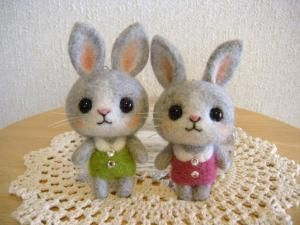 Super cute needled felted bunny's