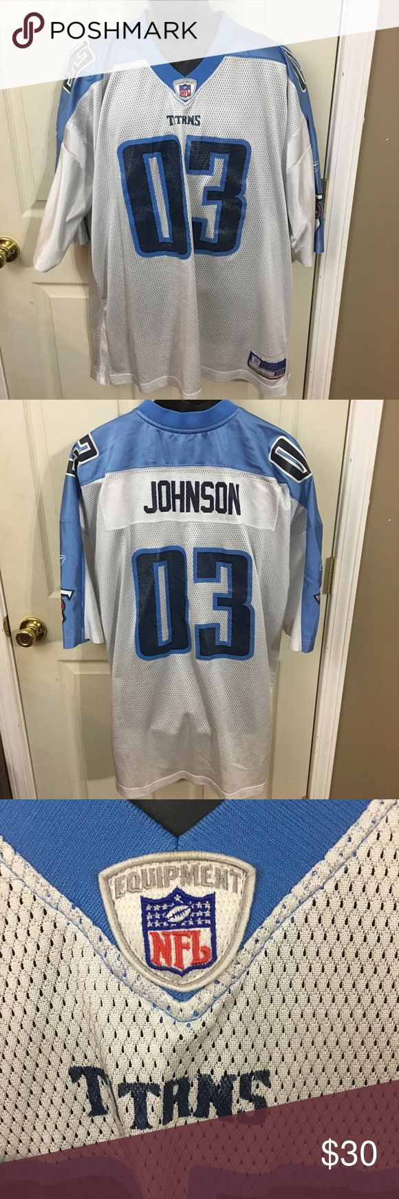 TN Titans Chris Johnson Football Jersey Size 3XL This is a men's TN Titans NFL Equipment Jersey Size 3XL. This jersey is in excellent gently used condition and has just some wash ware on the numbers. Please take a look at all photos for condition and if you have any questions feel free to ask. NFL Shirts