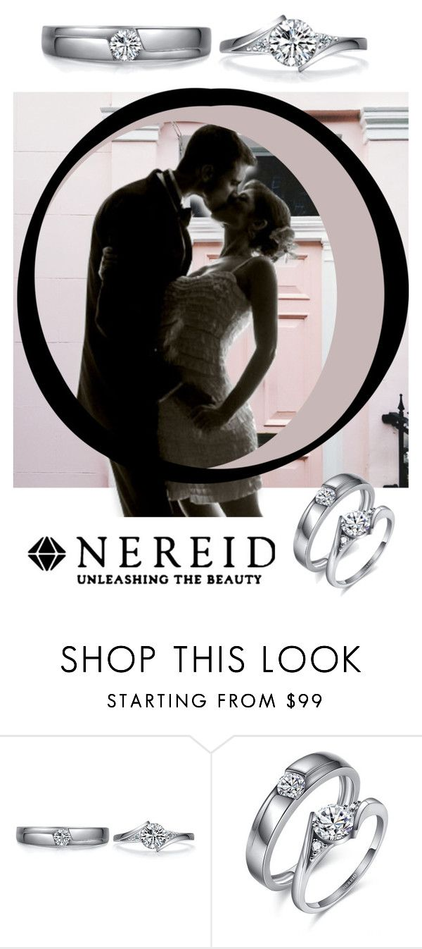 """""""Silver Diamond Couple Rings"""" by nereidjewelry ❤ liked on Polyvore"""