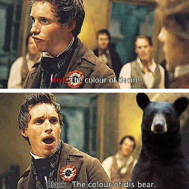 Red: the color of desire. Black: the color of dis bear.