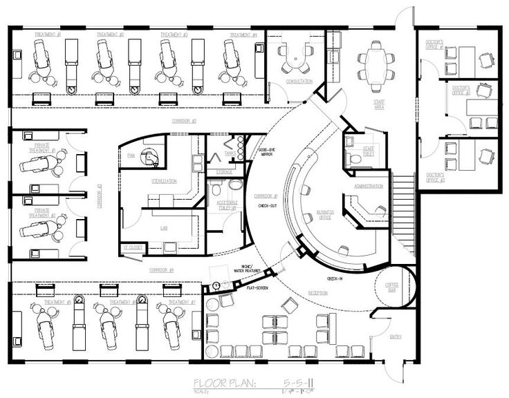 Dental office design floor plans nine chair dental for Office desk layout planner