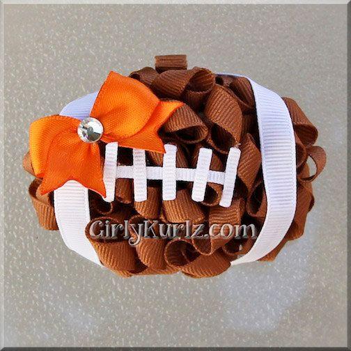Football Hair Bow Football Bow NFL Hair Bow Football by GirlyKurlz, $11.50