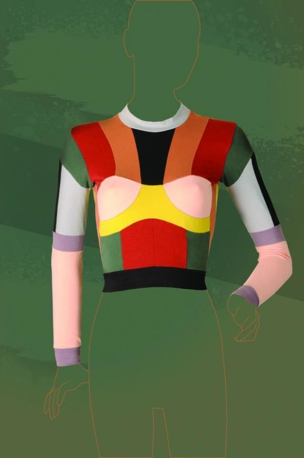 1980s Body-con top by Pam Hogg in color block panels or double jersey © Fashion and Textile Museum / C20 Vintage