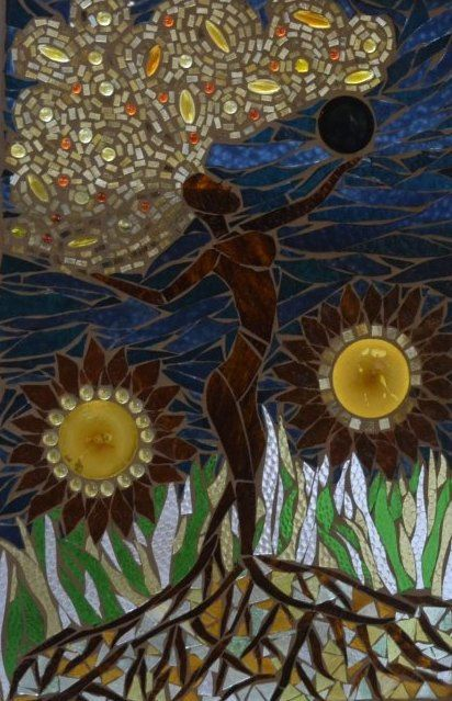 "Sold ""Gaia, Mother Earth"" ~  Stained Glass Mosaic by Kory Dollar of Marvelous Mosaic,"